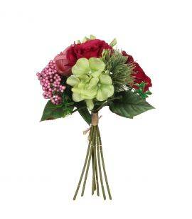 Buchet flori artificiale 30 cm Bordeaux